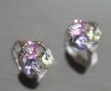 Pretty Created Stone(Pink Sapphire, Amethyst, Citrine) 1.2cm Hoops