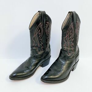 *Old West Black & Red & White Boots Western Leather Size 7
