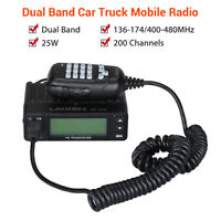25W Mini 200CH Dual Band VHF/UHF Vehicle Amateur Mobile Ham Radio Walkie Talkie