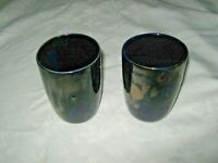 Vintage Pair 1960's Irene Daisy Lucas- Daisy Ware.Studio Pottery Blue Goblets