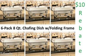 6-Pack Full Size 8 Qt. Stainless Steel Chafing Dishes + Folding Frames $30Rebate