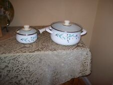 Vintage Enamelware Pot and Pan with Glass Covers