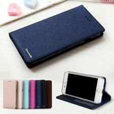 Flip Cases Silk Leather Magnetic Wallet Plain Cover For iPhone 6 6s 7 8 Plus