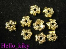 200pcs Antiqued gold plt Flower bead caps A668