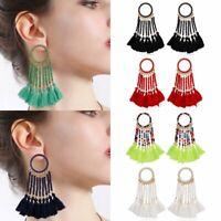 Charm Beaded Crystal Tassel Earrings Ear Drop Dangle Handmade Braid Jewelry