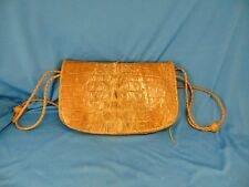 "Woman's pocketbook crocodile leather shoulder strap tan color 7"" x 11"" accessory"