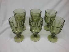 Set of 6 Libbey Dura Tuff Olive Avocado Green Glass Goblets