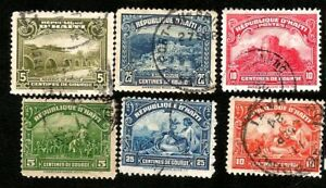 Haiti Old Postage Stamps issued in 1920s  Palace Sans Souci Aquduct Citadel