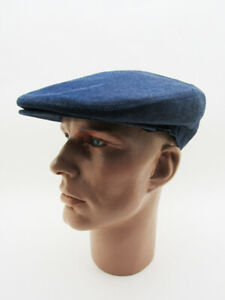 NEW LUXE JEANS CAP FLAT VINTAGE 60s 70s CAR CLASSIC RACING DRIVING DENIM FASHION