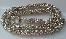 SOLID 999 PURE SILVER LADY'S BYZANTINE CHAIN NECKLACE  82grams-2.6oz  17.7inches