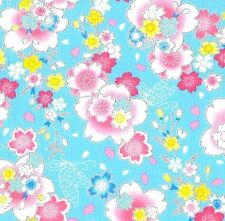 Blue Silver Glitter CHERRY BLOSSOMS Trans Pacific Textiles 1/2 Yard