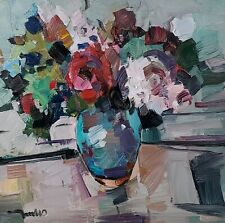 JOSE TRUJILLO Oil Painting IMPRESSIONISM STILL LIFE FLORAL BOUQUET FLOWERS NR