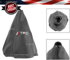 Black Stitches Retainer Leather Shifter Shift Gear Knob Boot Cover w/ TRD Logo