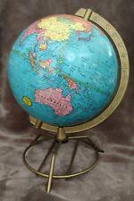 """Vintage Geo F Cram 8"""" Inch Terrestrial Desktop Tabletop Globe - Early 1960's"""