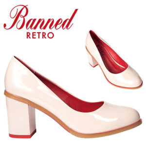 Banned Apparel Good Loving 60s Vintage Faux Leather Court Shoes With Block Heels