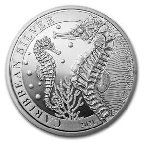 2021 Silver 1 oz $1 Barbados Caribbean Seahorse BU Brilliant Uncirculated