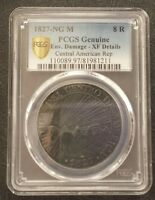 CENTRAL AMERICAN REPUBLIC - SILVER 8 REALES COIN 1827 YEAR KM#4 PCGS GRADING XF