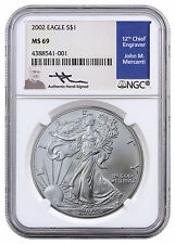 2002 American Silver Eagle NGC MS69 (Mercanti Signed Label) SKU40903