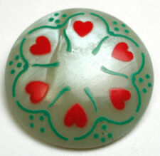 Vintage Celluloid Button with Hand painted Hearts design - 7/8""""