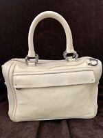 Trussardi Ivory Deerskin Soft Boston Doctor Leather Hand Bag Women