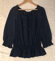 Joie Women's Navy Blue Tie Back Neckline Pleated Shirt Top Size S Small Silk