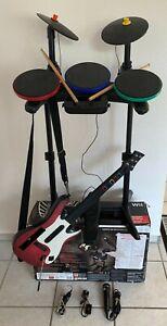 Wii Rock Band Schlagzeug + Guitar Hero - Set mit Spielen