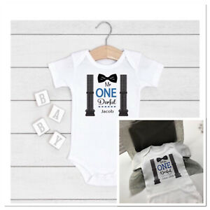 💙 personalised boys 1st birthday vest cake smash one today mr one derful outfit