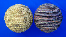 "lot of 2 HUGE 4"" ball Christmas ornaments natural rolled wood twine"