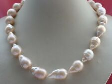 "19"" Genuine Natural 27mm Pink Reborn Keshi Pearl Necklace 14k #f1758!"