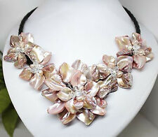 """AAA+Charm pink Mother of Pearl Shell Handmade Pearl Crystal Flower Necklace  18"""""""