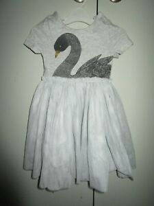 Girls Seed  grey marle tutu dress with Swan print   Size 2