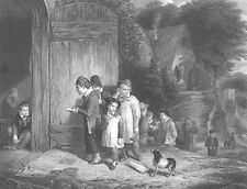 NOT HAPPY KIDS GOING TO 1800s SCHOOL DOG FOLLOWS ~ Old 1862 Art Print Engraving