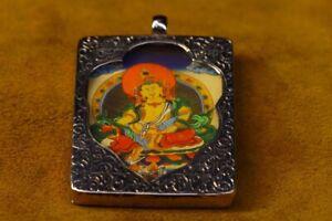 "2.2""Old Buddhism Tibetan silver Yellow Jambhala Wealth God Buddha amulet Pendant"