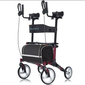 """ELENKER Stand Up -Upright Walker Folding Rollator Wine Red w/10"""" Wheels F"""