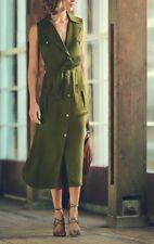 Karen Millen Safari Khaki Boxy Pocket Long Midi Drape Shirt Dress DA201 6 - 16