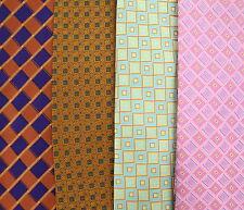 Lot of FOUR Daniel De Fasson 100% Silk Men's Ties - Orange Pink Green Geometric
