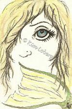 silent Mermaid fish Tail big eye EBSQ Loberg post card Mini ART ocean Sea girl