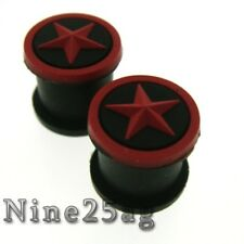 "PAIR BLACK/RED STAR 5/8"" INCH 16MM SILICONE PLUGS PLUG"
