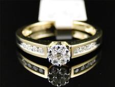 10K Ladies Yellow Gold Round Diamond Flower Cluster Engagement Wedding Ring .27c