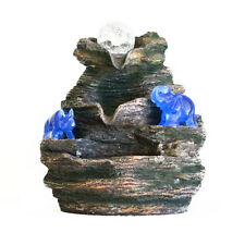 Feng Shui Tabletop Indoor Water Fountain with Blue Rhino and Elephant