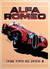 Italian Racing Car Alfa Tipo Romeo 1938 8C 2900b Vintage Poster Print Art