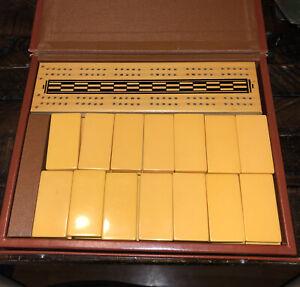 Vtg Domino Cribbage Board Set Bakelite W/ Case