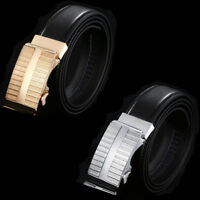 High Quality Mens Automatic Buckle Leather Ratchet Belt Waist Strap Waistband