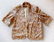 Vintage 80s 90s womens size LARGE gold yellow abstract print blazer jacket top