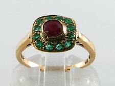 RARE COMBO 9CT 9k GOLD INDIAN RUBY & COLOMBIAN EMERALD ART DECO INS RING