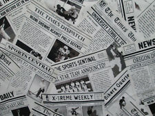 Sports Newsprint The The Sport Newspaper Cotton Fabric FQ