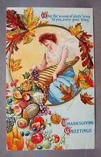 1910 THANKSGIVING Woman emptying CORNUCOPIA embossed postcard *