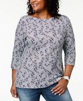Karen Scott Women's Plus Size Boat Neck 3/4 Sleeve Knit Top, Intrepid Blue, 1X