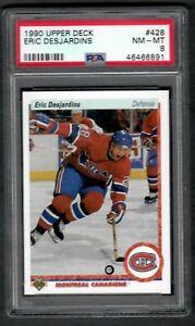 1990 UPPER DECK #428 ERIC DESJARDINS PSA 8 NEAR-MINT Canadians