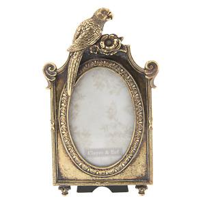 """Vintage Style Parrot Oval Photo Picture Frame Antique Gold 4""""x6"""" Portrait"""